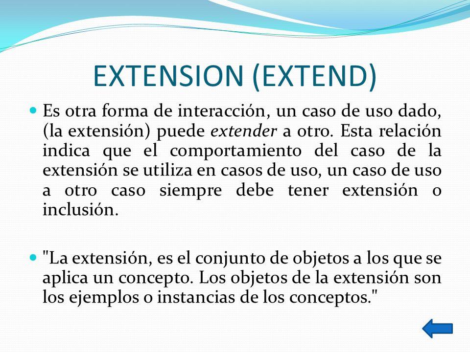 EXTENSION (EXTEND) Es otra forma de interacción, un caso de uso dado, (la extensión) puede extender a otro. Esta relación indica que el comportamiento