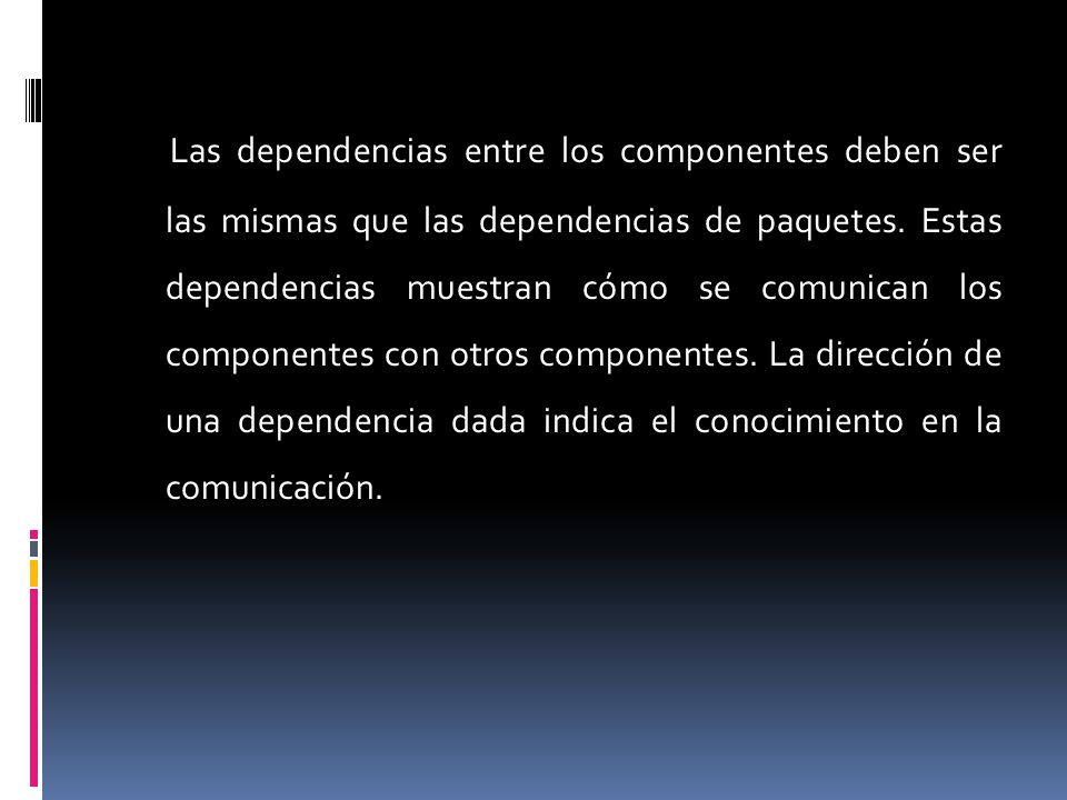 Las dependencias entre los componentes deben ser las mismas que las dependencias de paquetes. Estas dependencias muestran cómo se comunican los compon