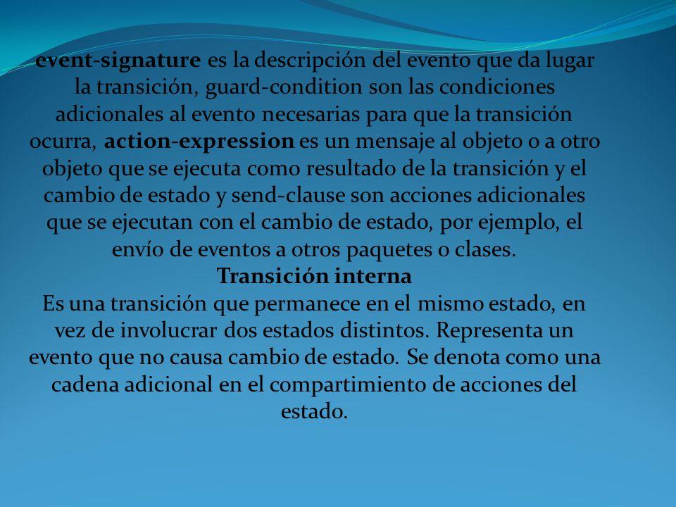 event-signature es la descripción del evento que da lugar la transición, guard-condition son las condiciones adicionales al evento necesarias para que