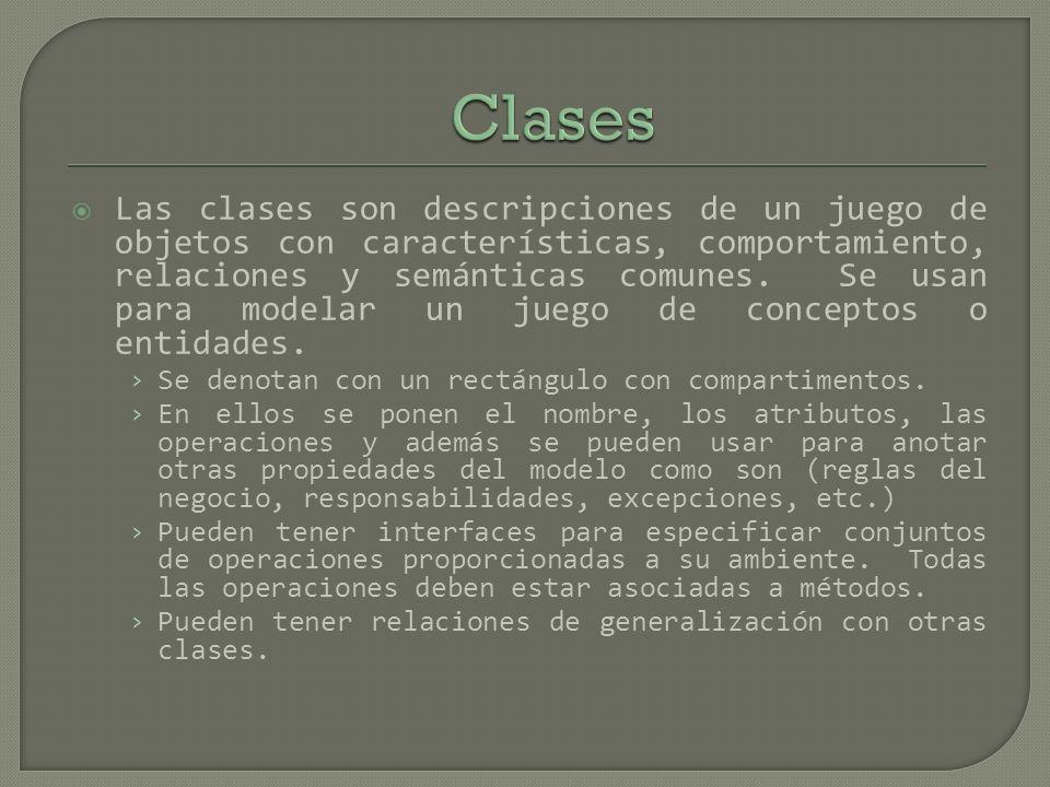 Las clases son descripciones de un juego de objetos con características, comportamiento, relaciones y semánticas comunes. Se usan para modelar un jueg