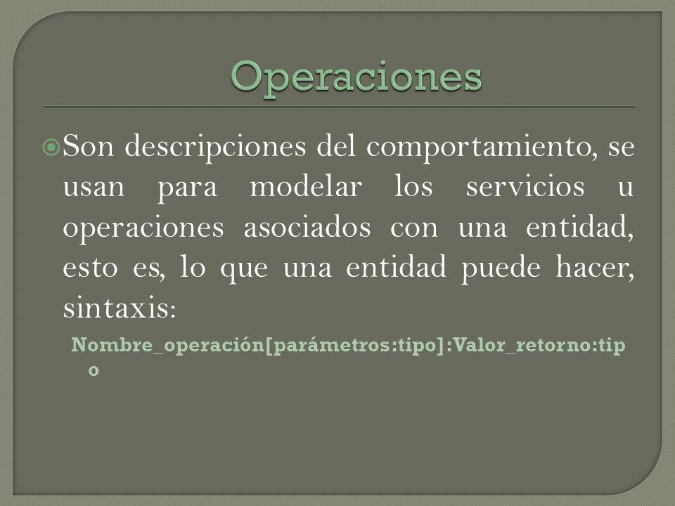 Son descripciones del comportamiento, se usan para modelar los servicios u operaciones asociados con una entidad, esto es, lo que una entidad puede ha