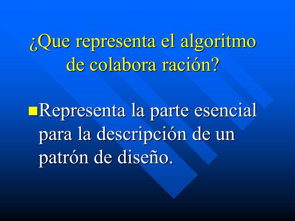 ¿Que representa el algoritmo de colabora ración? Representa la parte esencial para la descripción de un patrón de diseño. Representa la parte esencial