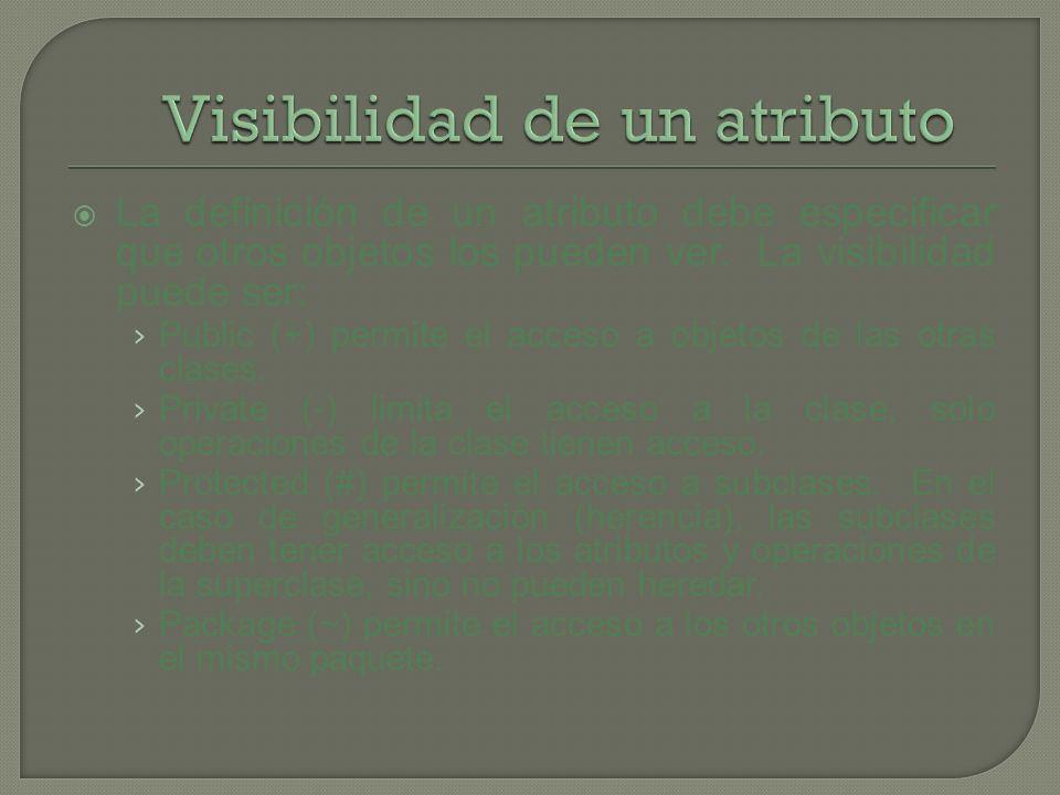 La definición de un atributo debe especificar que otros objetos los pueden ver. La visibilidad puede ser: Public (+) permite el acceso a objetos de la