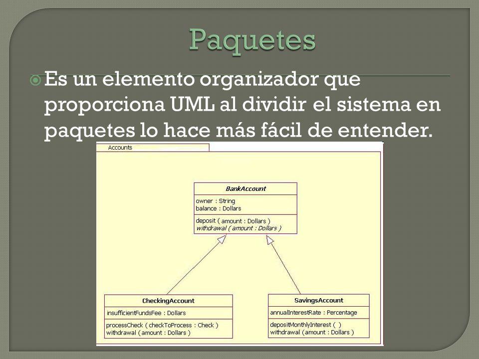 Es un elemento organizador que proporciona UML al dividir el sistema en paquetes lo hace más fácil de entender.