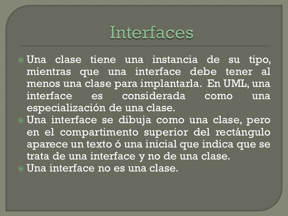 Una clase tiene una instancia de su tipo, mientras que una interface debe tener al menos una clase para implantarla. En UML, una interface es consider