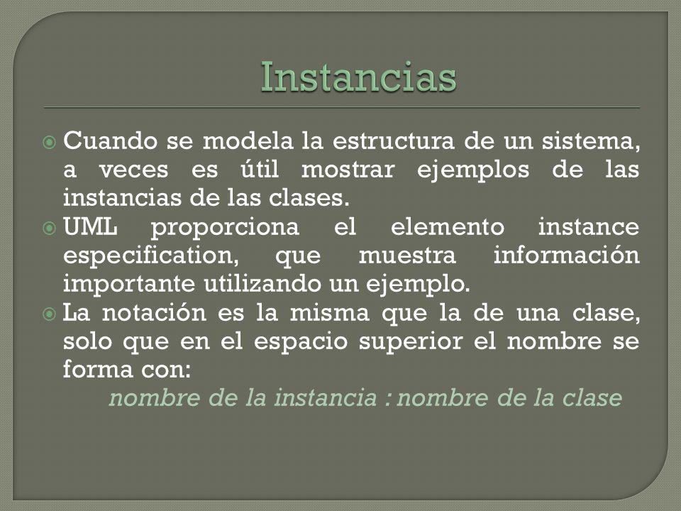 Cuando se modela la estructura de un sistema, a veces es útil mostrar ejemplos de las instancias de las clases. UML proporciona el elemento instance e