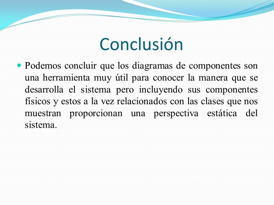 Conclusión Podemos concluir que los diagramas de componentes son una herramienta muy útil para conocer la manera que se desarrolla el sistema pero inc