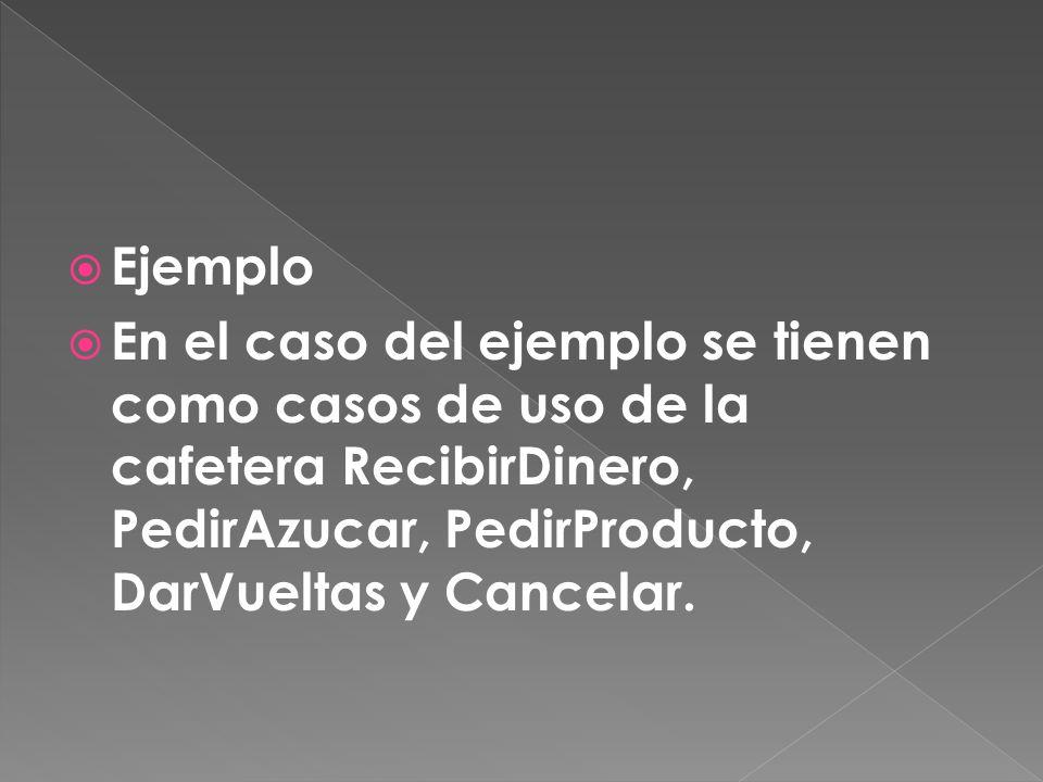Ejemplo En el caso del ejemplo se tienen como casos de uso de la cafetera RecibirDinero, PedirAzucar, PedirProducto, DarVueltas y Cancelar.