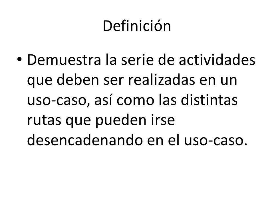 Definición Demuestra la serie de actividades que deben ser realizadas en un uso-caso, así como las distintas rutas que pueden irse desencadenando en e