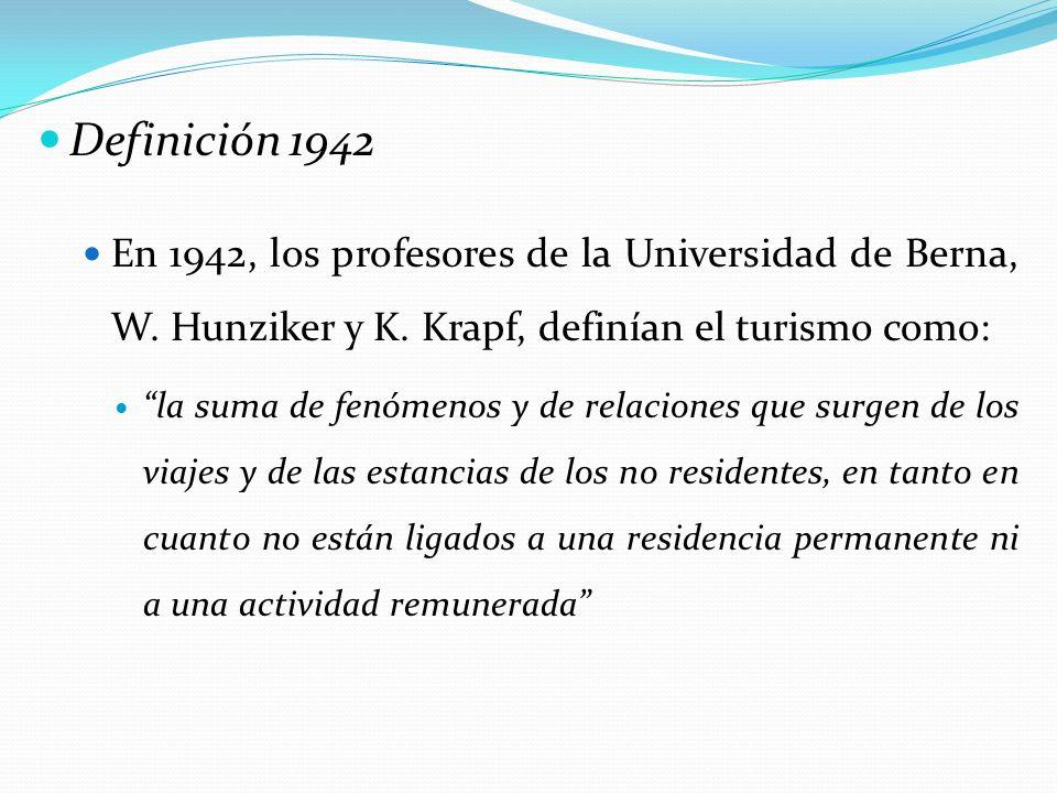 Definición 1942 En 1942, los profesores de la Universidad de Berna, W. Hunziker y K. Krapf, definían el turismo como: la suma de fenómenos y de relaci