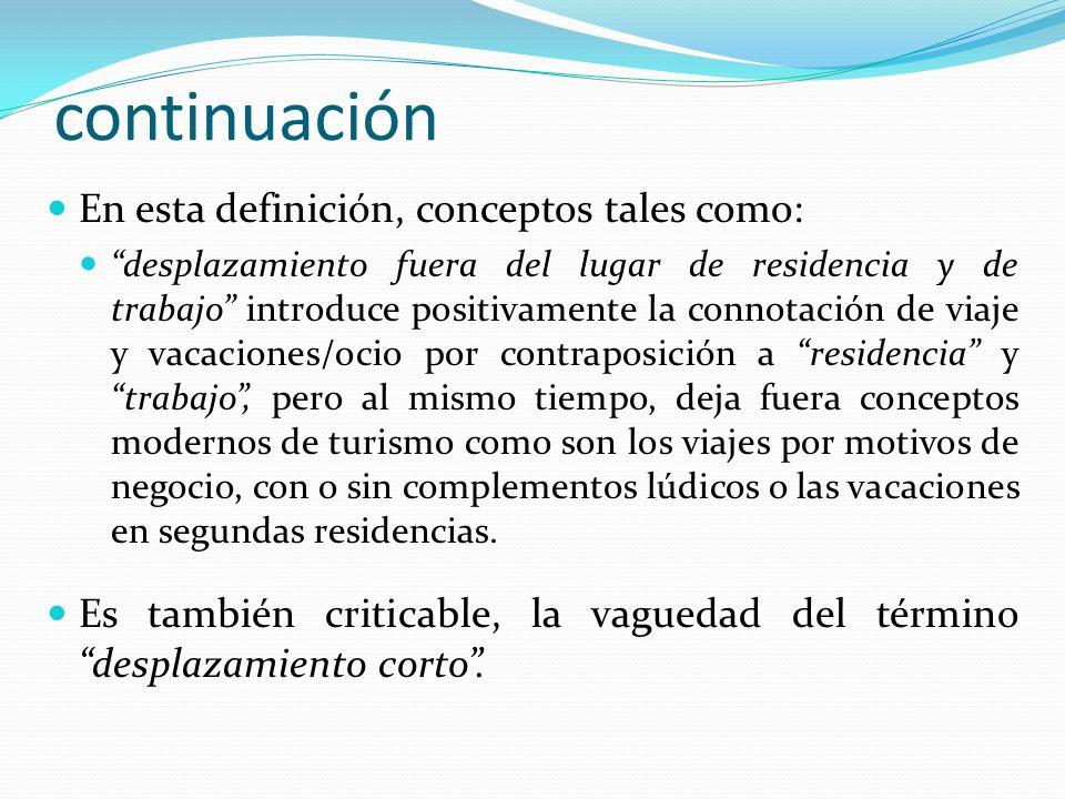 continuación En esta definición, conceptos tales como: desplazamiento fuera del lugar de residencia y de trabajo introduce positivamente la connotació