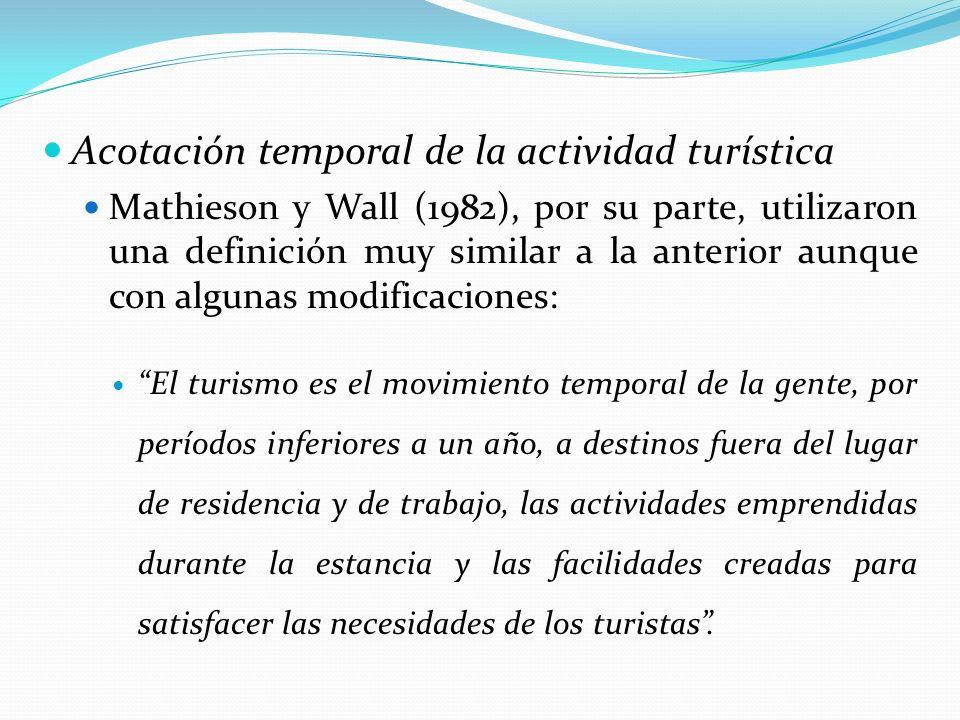 Acotación temporal de la actividad turística Mathieson y Wall (1982), por su parte, utilizaron una definición muy similar a la anterior aunque con alg