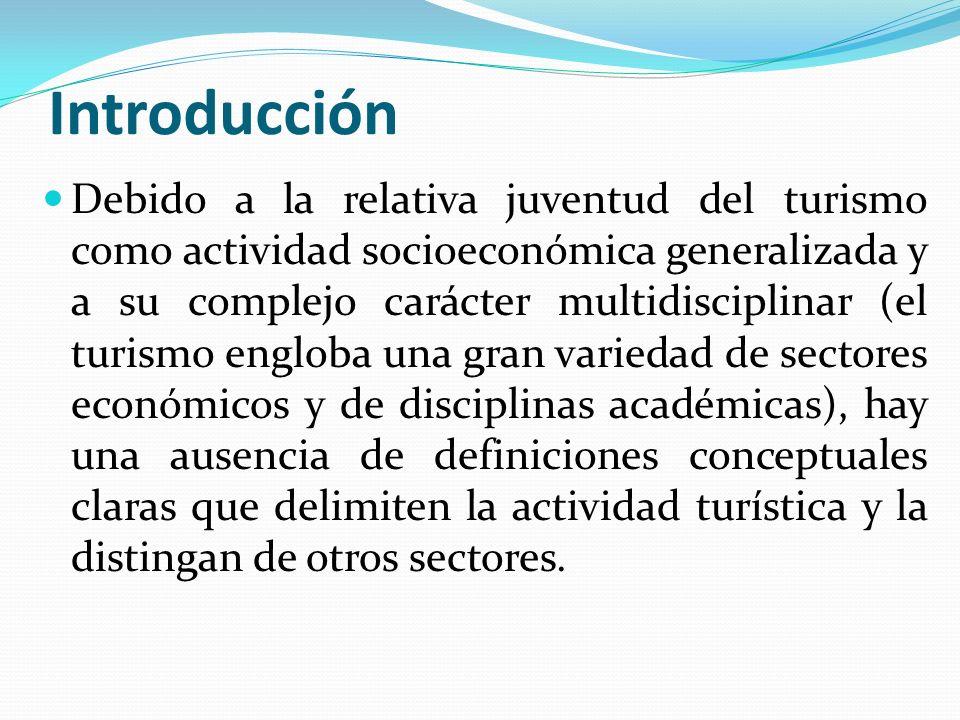 Introducción Debido a la relativa juventud del turismo como actividad socioeconómica generalizada y a su complejo carácter multidisciplinar (el turism
