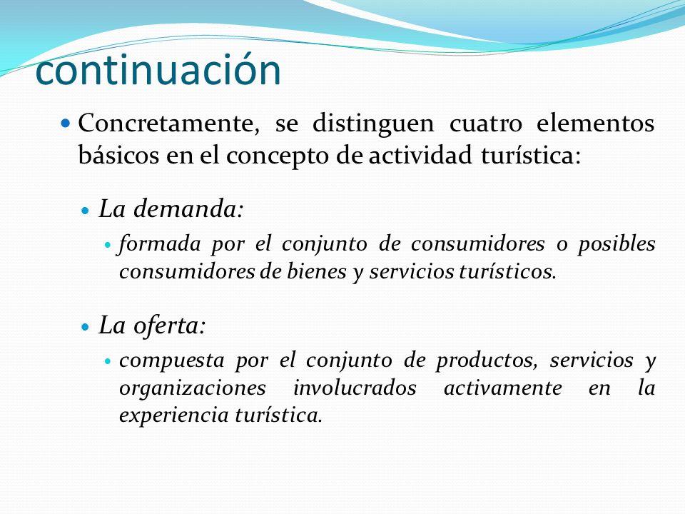continuación Concretamente, se distinguen cuatro elementos básicos en el concepto de actividad turística: La demanda: formada por el conjunto de consu