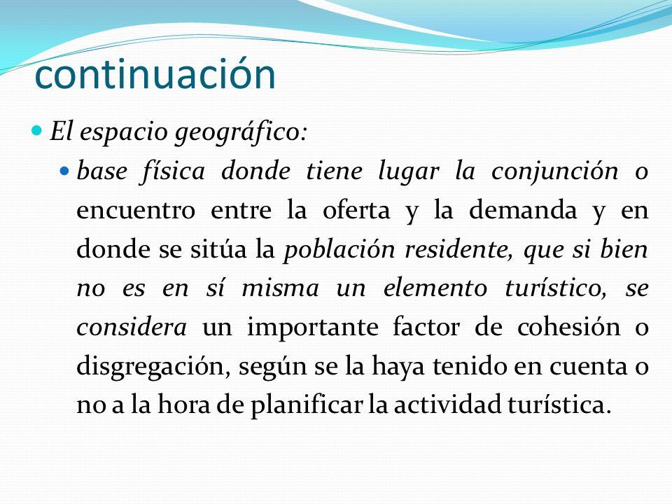 continuación El espacio geográfico: base física donde tiene lugar la conjunción o encuentro entre la oferta y la demanda y en donde se sitúa la poblac