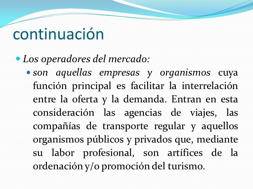 continuación Los operadores del mercado: son aquellas empresas y organismos cuya función principal es facilitar la interrelación entre la oferta y la