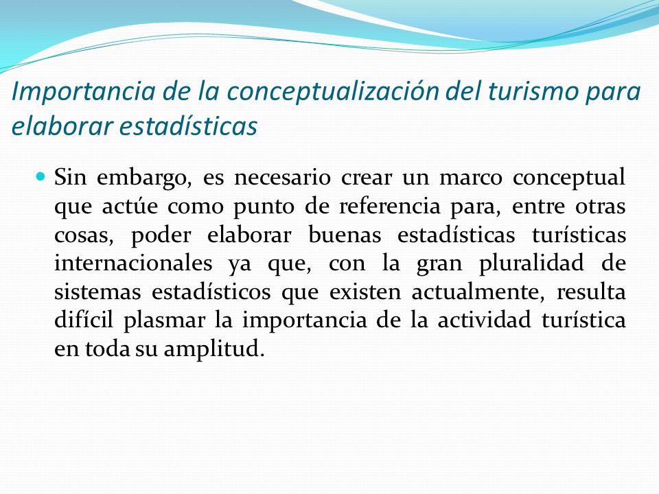 Importancia de la conceptualización del turismo para elaborar estadísticas Sin embargo, es necesario crear un marco conceptual que actúe como punto de