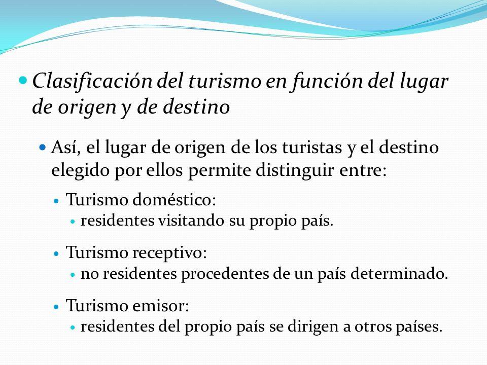Clasificación del turismo en función del lugar de origen y de destino Así, el lugar de origen de los turistas y el destino elegido por ellos permite d