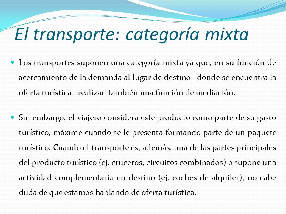 El transporte: categoría mixta Los transportes suponen una categoría mixta ya que, en su función de acercamiento de la demanda al lugar de destino –do