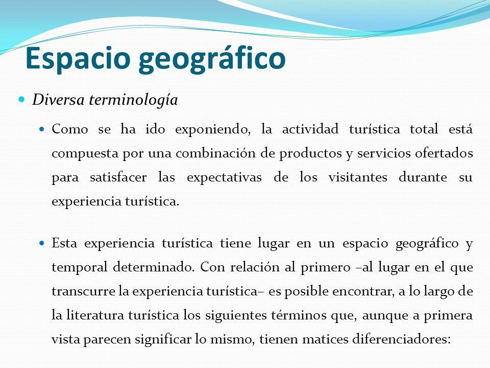 Espacio geográfico Diversa terminología Como se ha ido exponiendo, la actividad turística total está compuesta por una combinación de productos y serv