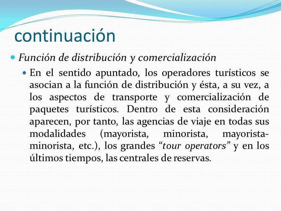 continuación Función de distribución y comercialización En el sentido apuntado, los operadores turísticos se asocian a la función de distribución y és