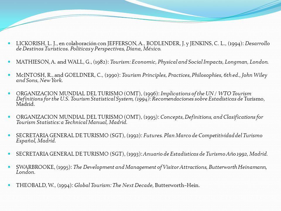 LICKORISH, L. J., en colaboración con JEFFERSON, A., BODLENDER, J. y JENKINS, C. L., (1994): Desarrollo de Destinos Turísticos. Políticas y Perspectiv