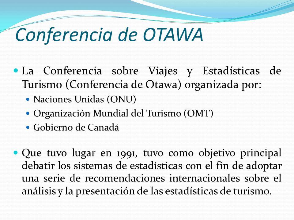 Conferencia de OTAWA La Conferencia sobre Viajes y Estadísticas de Turismo (Conferencia de Otawa) organizada por: Naciones Unidas (ONU) Organización M
