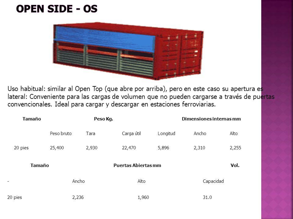 Uso habitual: similar al Open Top (que abre por arriba), pero en este caso su apertura es lateral: Conveniente para las cargas de volumen que no puede
