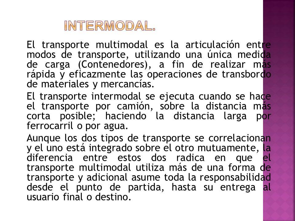 El transporte multimodal es la articulación entre modos de transporte, utilizando una única medida de carga (Contenedores), a fin de realizar más rápi