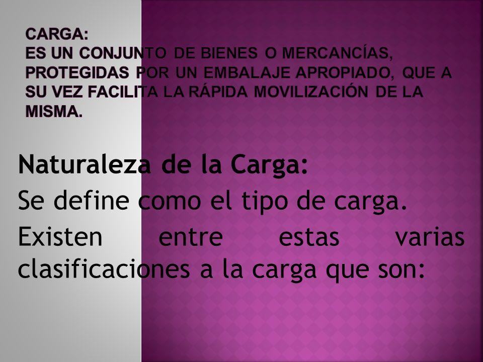 Naturaleza de la Carga: Se define como el tipo de carga. Existen entre estas varias clasificaciones a la carga que son: