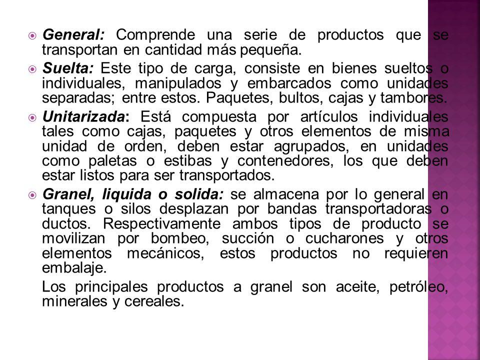 General: Comprende una serie de productos que se transportan en cantidad más pequeña. Suelta: Este tipo de carga, consiste en bienes sueltos o individ