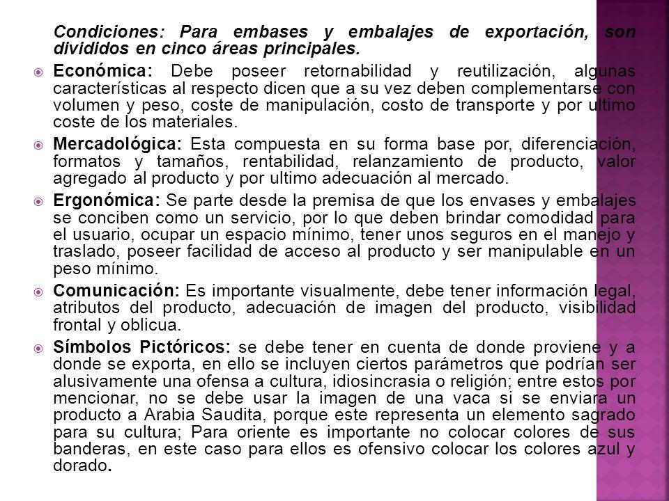 Condiciones: Para embases y embalajes de exportación, son divididos en cinco áreas principales. Económica: Debe poseer retornabilidad y reutilización,