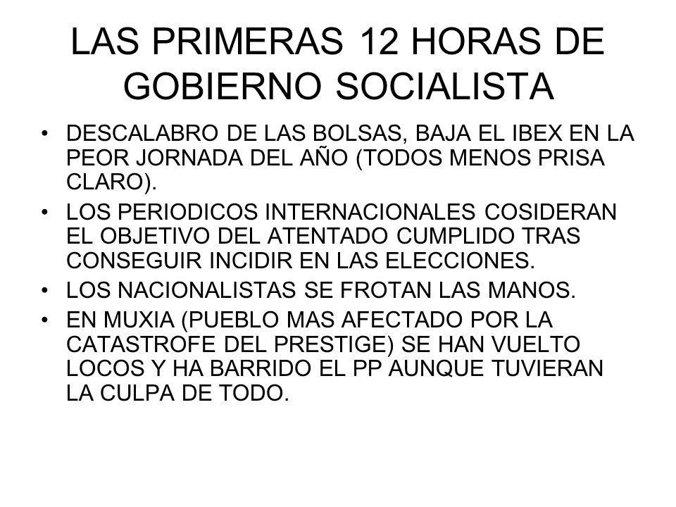 LAS PRIMERAS 12 HORAS DE GOBIERNO SOCIALISTA DESCALABRO DE LAS BOLSAS, BAJA EL IBEX EN LA PEOR JORNADA DEL AÑO (TODOS MENOS PRISA CLARO).
