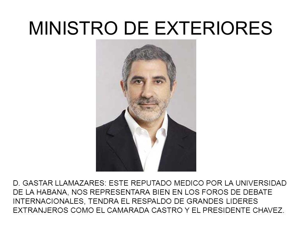 MINISTRO DE EXTERIORES D. GASTAR LLAMAZARES: ESTE REPUTADO MEDICO POR LA UNIVERSIDAD DE LA HABANA, NOS REPRESENTARA BIEN EN LOS FOROS DE DEBATE INTERN
