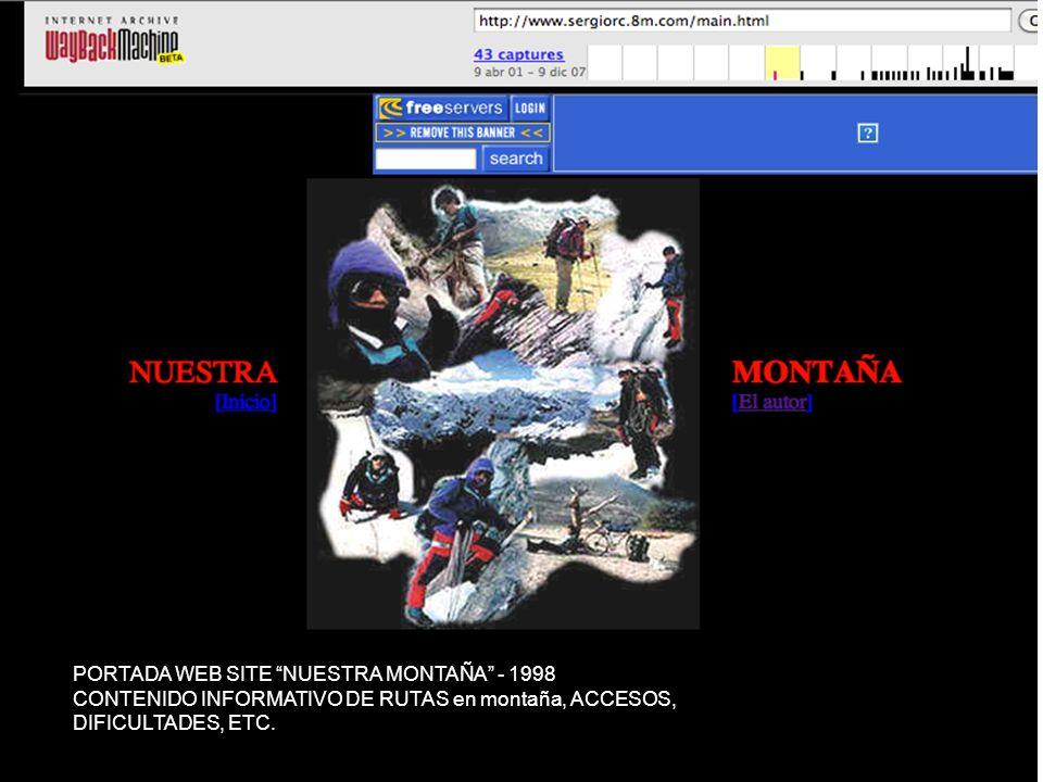 PORTADA WEB SITE NUESTRA MONTAÑA 2012 Seguimos manteniendo el objetivo original
