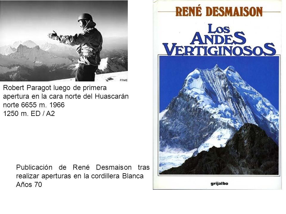 Robert Paragot luego de primera apertura en la cara norte del Huascarán norte 6655 m. 1966 1250 m. ED / A2 Publicación de René Desmaison tras realizar
