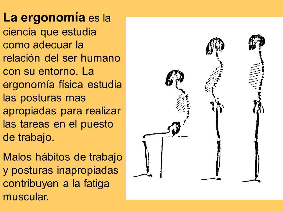 La ergonomía es la ciencia que estudia como adecuar la relación del ser humano con su entorno.