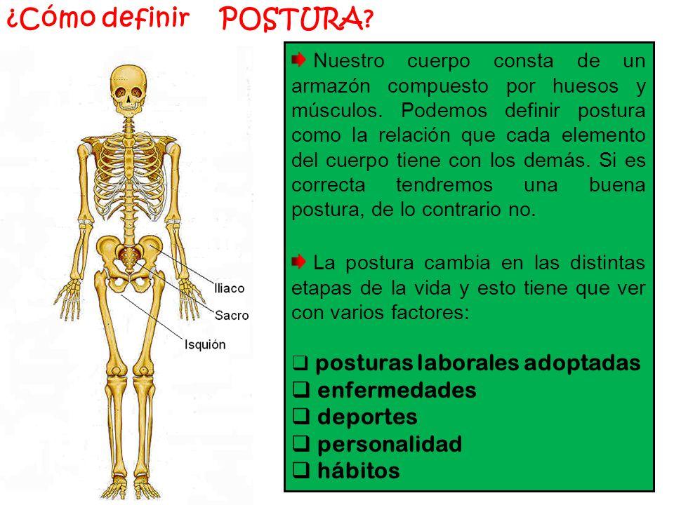¿Cómo definir POSTURA.Nuestro cuerpo consta de un armazón compuesto por huesos y músculos.