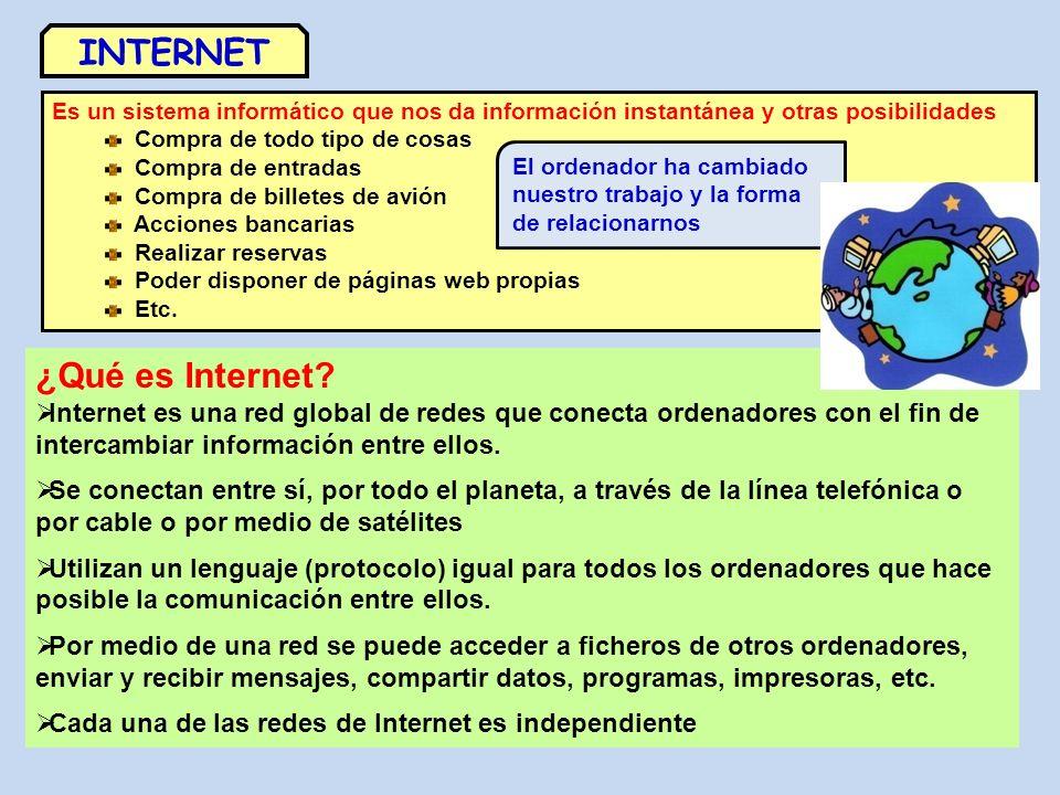 Elementos necesarios para acceder a Internet Ordenador Módem Línea telefónica Proveedor (IPS) Para conectar: o Programas o Datos Ordenador Módem Línea telefónica Proveedor (IPS) Para conectar: o Programas o Datos Módem inalámbrico IPS Servidor WEB Servidor DNS Módem RED INTERNET Nodos de comunicación PROTOCOLOS DE INTERNET : TPC y IP Es el conjunto de protocolos de red por los que funciona Internet.