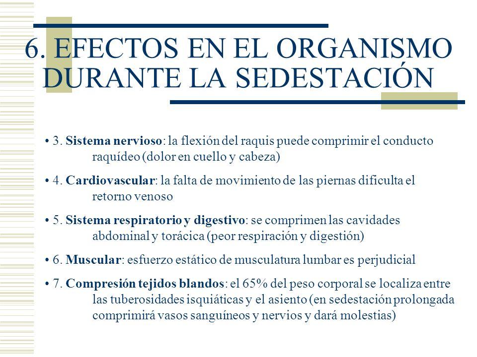 6. EFECTOS EN EL ORGANISMO DURANTE LA SEDESTACIÓN 3. Sistema nervioso: la flexión del raquis puede comprimir el conducto raquídeo (dolor en cuello y c