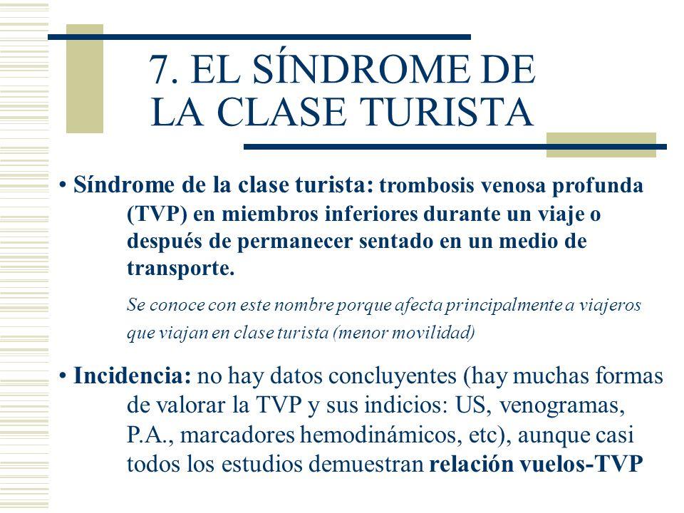 7. EL SÍNDROME DE LA CLASE TURISTA Síndrome de la clase turista: trombosis venosa profunda (TVP) en miembros inferiores durante un viaje o después de