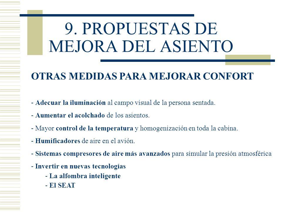 9. PROPUESTAS DE MEJORA DEL ASIENTO OTRAS MEDIDAS PARA MEJORAR CONFORT - Adecuar la iluminación al campo visual de la persona sentada. - Aumentar el a