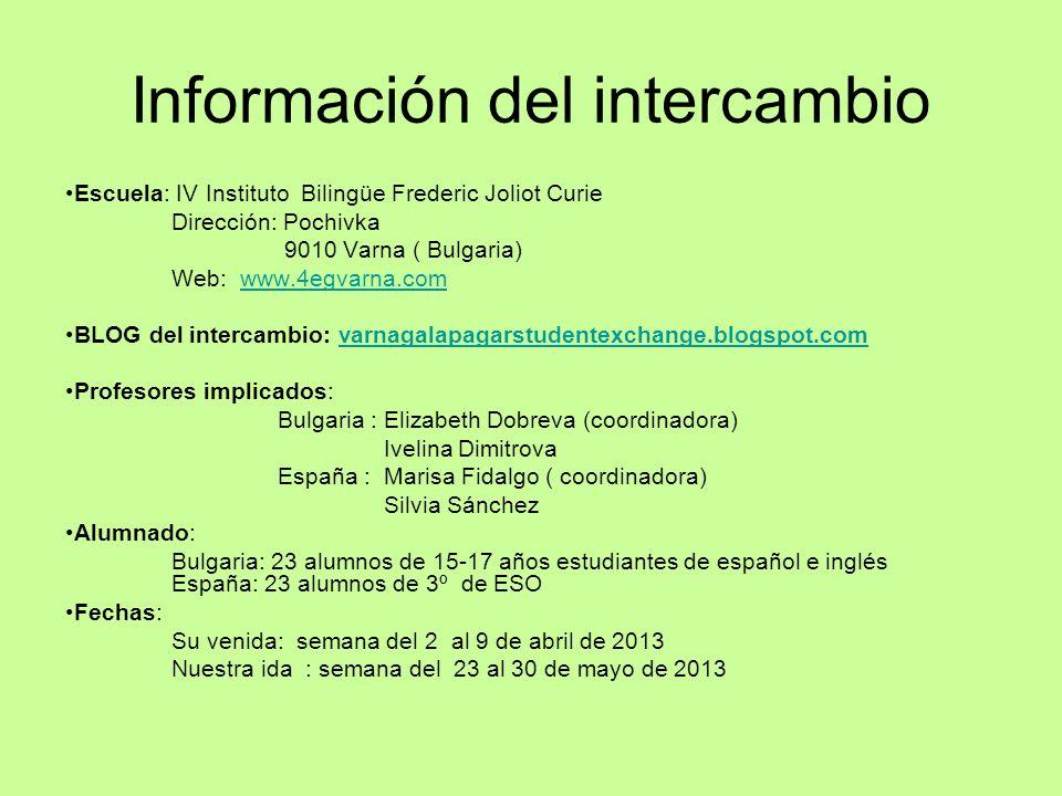 Información del intercambio Escuela: IV Instituto Bilingüe Frederic Joliot Curie Dirección: Pochivka 9010 Varna ( Bulgaria) Web: www.4egvarna.comwww.4