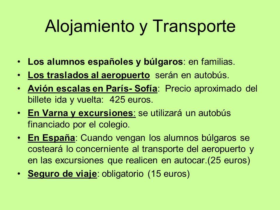 Alojamiento y Transporte Los alumnos españoles y búlgaros: en familias. Los traslados al aeropuerto serán en autobús. Avión escalas en París- Sofía: P