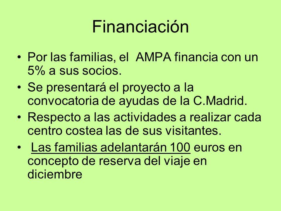 Financiación Por las familias, el AMPA financia con un 5% a sus socios. Se presentará el proyecto a la convocatoria de ayudas de la C.Madrid. Respecto