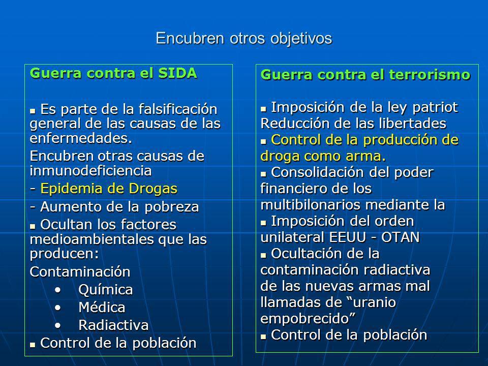 Encubren otros objetivos Guerra contra el SIDA Es parte de la falsificación general de las causas de las enfermedades.