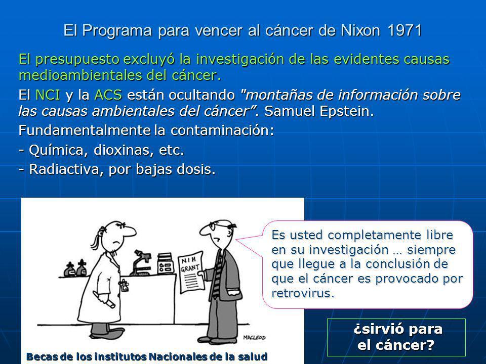 El Programa para vencer al cáncer de Nixon 1971 El presupuesto excluyó la investigación de las evidentes causas medioambientales del cáncer.