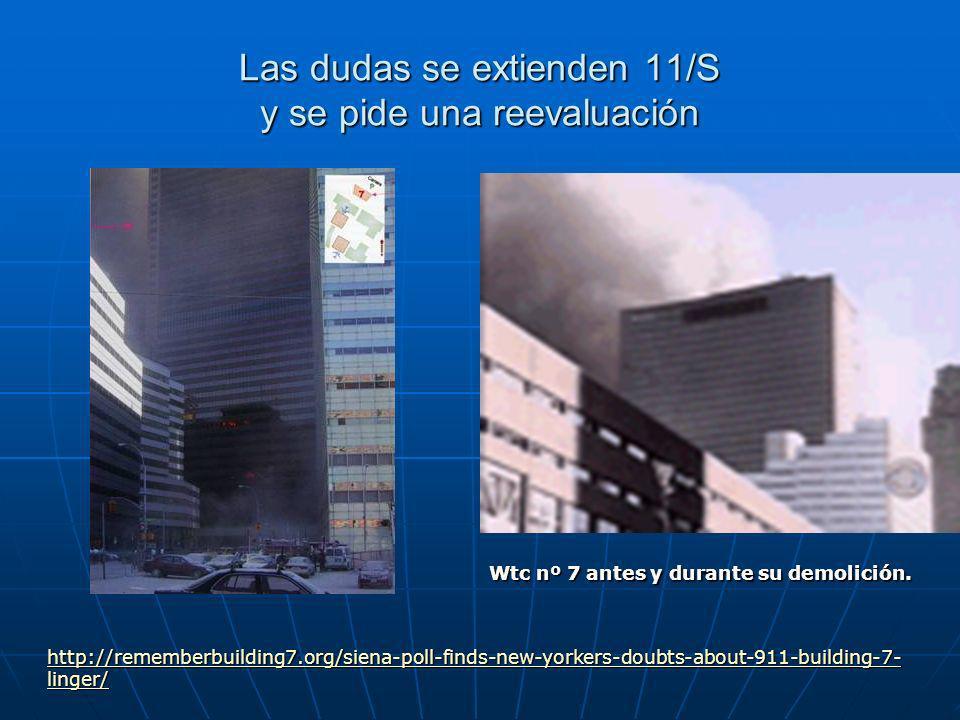 Las dudas se extienden 11/S y se pide una reevaluación http://rememberbuilding7.org/siena-poll-finds-new-yorkers-doubts-about-911-building-7- linger/ http://rememberbuilding7.org/siena-poll-finds-new-yorkers-doubts-about-911-building-7- linger/ Wtc nº 7 antes y durante su demolición.