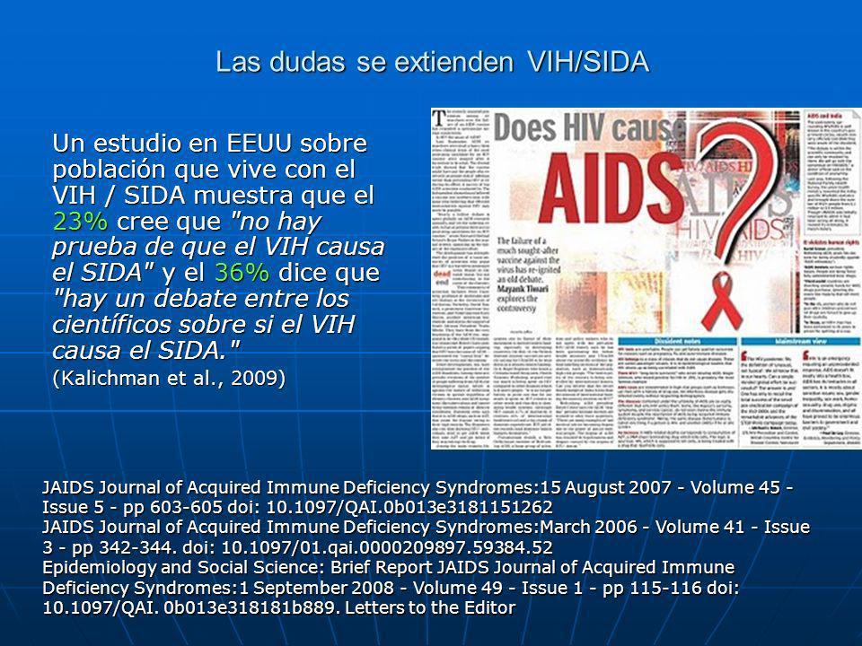 Las dudas se extienden VIH/SIDA Un estudio en EEUU sobre población que vive con el VIH / SIDA muestra que el 23% cree que no hay prueba de que el VIH causa el SIDA y el 36% dice que hay un debate entre los científicos sobre si el VIH causa el SIDA. (Kalichman et al., 2009) JAIDS Journal of Acquired Immune Deficiency Syndromes:15 August 2007 - Volume 45 - Issue 5 - pp 603-605 doi: 10.1097/QAI.0b013e3181151262 JAIDS Journal of Acquired Immune Deficiency Syndromes:March 2006 - Volume 41 - Issue 3 - pp 342-344.