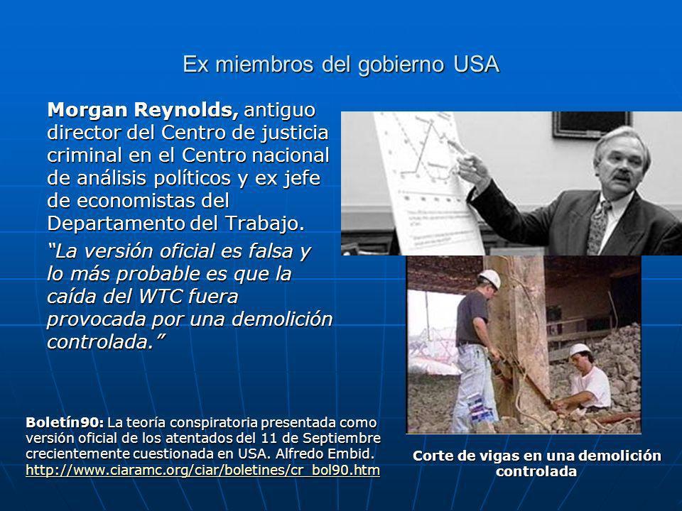 Ex miembros del gobierno USA Morgan Reynolds, antiguo director del Centro de justicia criminal en el Centro nacional de análisis políticos y ex jefe de economistas del Departamento del Trabajo.